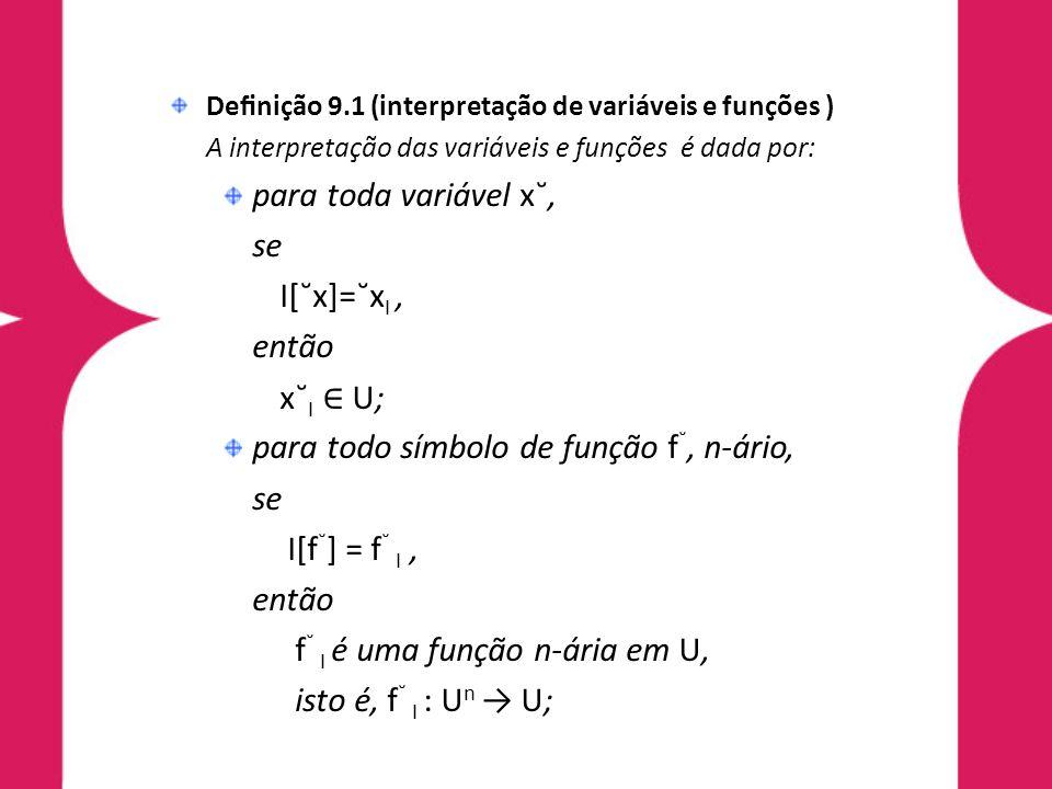para todo símbolo de função f˘, n-ário, I[f˘] = f˘ I ,